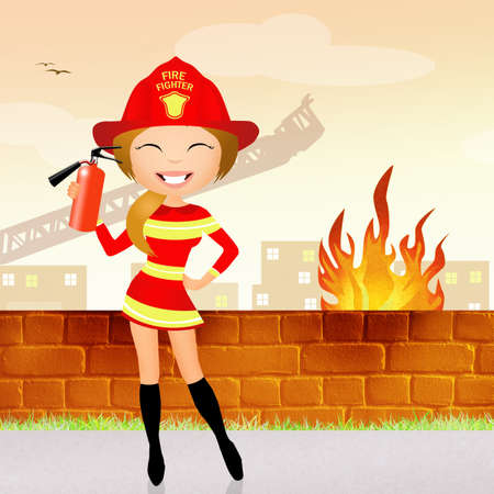 occupation cartoon: firefighter girl Stock Photo