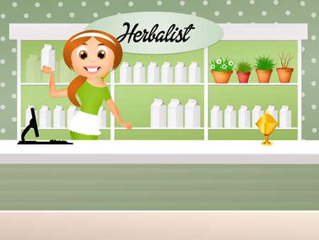 herboristeria: herbalista Foto de archivo