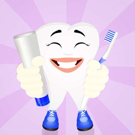 dentin: funny tooth cartoon Stock Photo