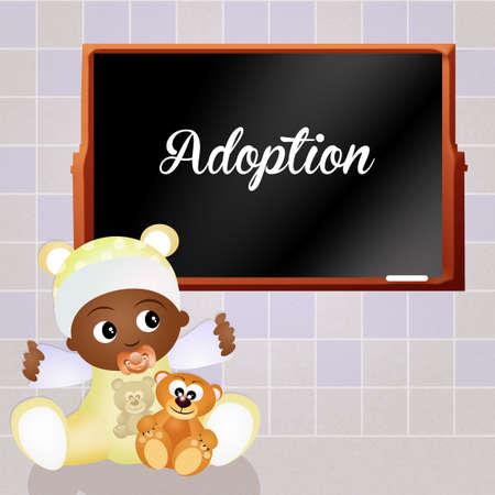adoptive: adopts a child Stock Photo