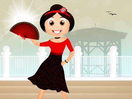 spanish fan: Flamenco dancer