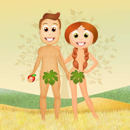 adam eve: Adam and Eve in Eden Stock Photo