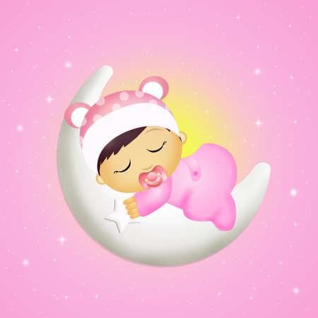 月に眠っている女の赤ちゃん