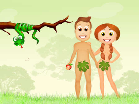 adam: Adam and Eve in the Garden of Eden Stock Photo