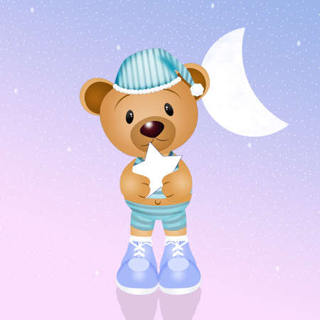 slumber party: teddy with star in the night