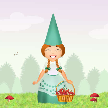 gnome: gnome with mushrooms in the forest Stock Photo
