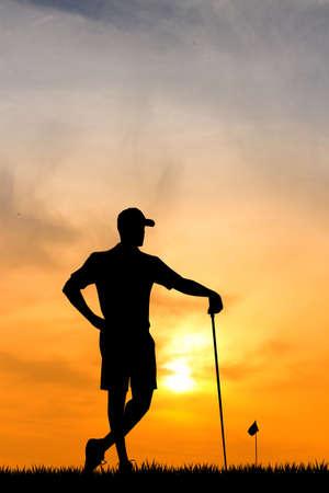 tourney: golf at sunset