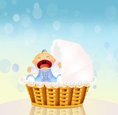 procreation: baby cries Stock Photo