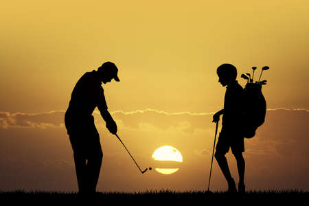 caddy: Golf tournament at sunset