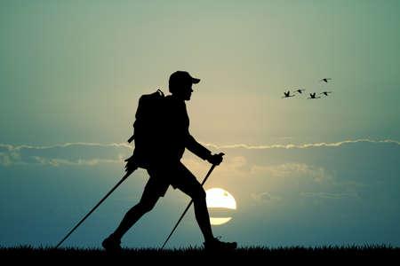 nordic walking at sunset Zdjęcie Seryjne