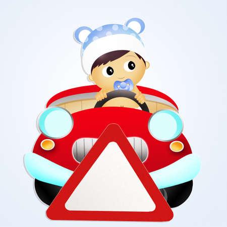 bebe a bordo: beb� en la muestra del coche tablero Foto de archivo