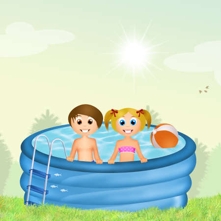 inflatable: children in inflatable pool