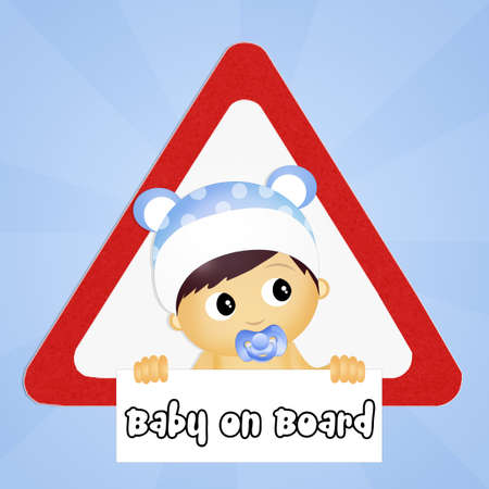 nappy: baby on board car sign