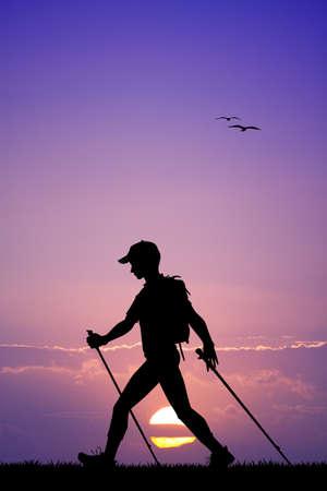 nordic walking: Nordic walking silhouette at sunset
