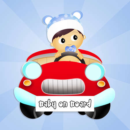 baby on board: baby on board Stock Photo