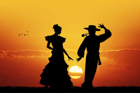 spanish dancer: Flamenco at sunset