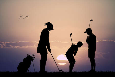 plays: family plays golf Stock Photo