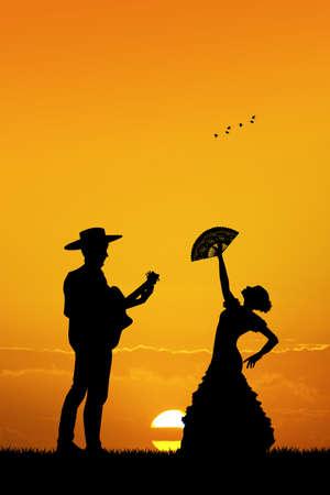 spanish fan: flamenco dancer anf guitarist Stock Photo