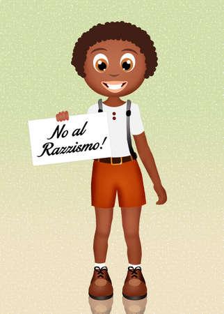 niños de diferentes razas: no al racismo Foto de archivo