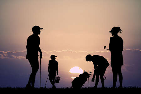 father and child: family plays golf Stock Photo