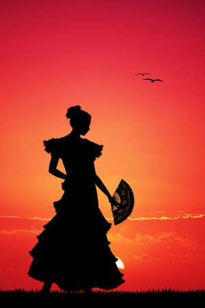 spanish fan: Flamenco silhouette at sunset
