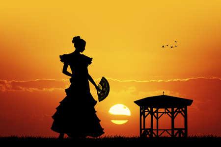 spanish fan: Flamenco at sunset