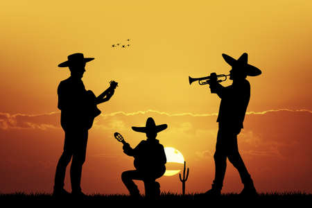 Mariachi band at sunset Stock Photo