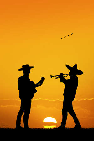 mariachi: Mariachi band at sunset Stock Photo
