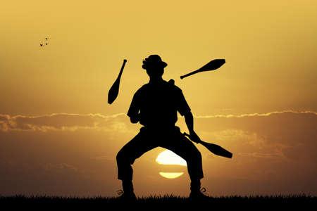 juggler: juggler at sunset