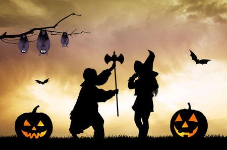 night: children on Halloween night