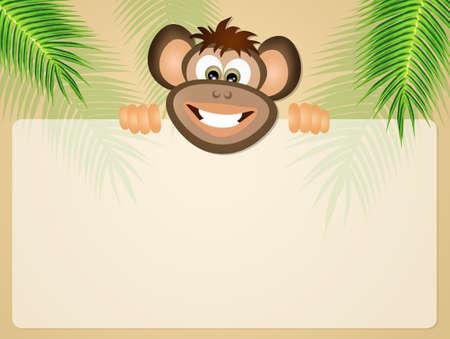 postcard: monkey postcard Stock Photo