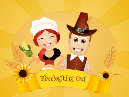 pilgrim costume: Thanksgiving day Stock Photo