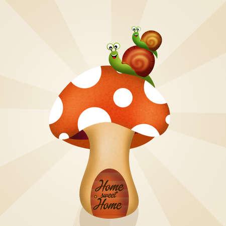 porcine: snails on fungus home