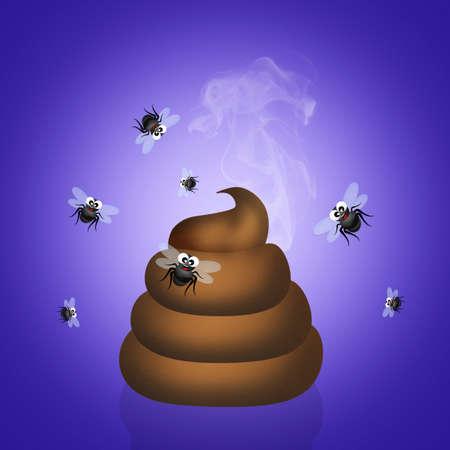odors: poop with flies Stock Photo