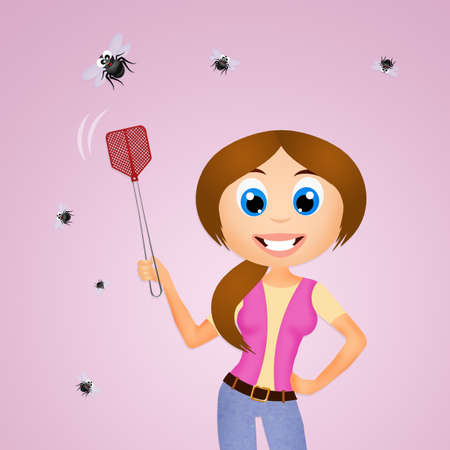 crushing: the fly swatter Stock Photo