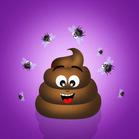 dung: poop with flies Stock Photo