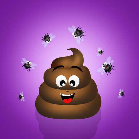 odor: poop with flies Stock Photo