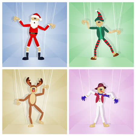 puppets: Christmas friends puppets Stock Photo