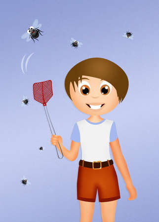 nuisance: the fly swatter Stock Photo