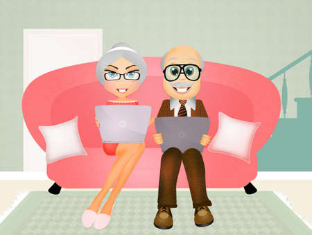 old pc: elderly couple with laptop Stock Photo