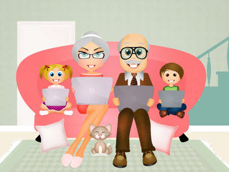 grandchildren: grandparents and grandchildren with laptop Stock Photo
