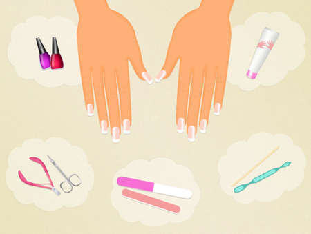 manicure: French manicure Stock Photo