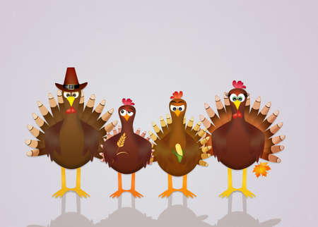 turkeys: family of turkeys Stock Photo