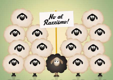 alienation: funny illustration of racism Stock Photo