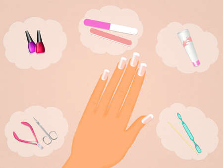 french manicure: French manicure Stock Photo