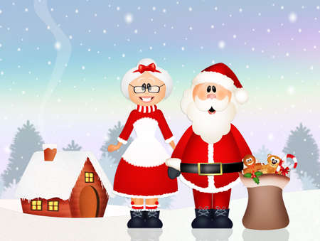 delivered: Santa Claus delivered gifts with his wife