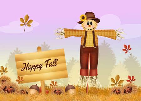 autumn scarecrow: happy fall