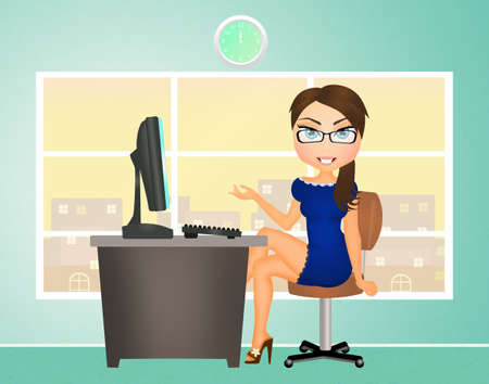 technological and communication: secretary in the office