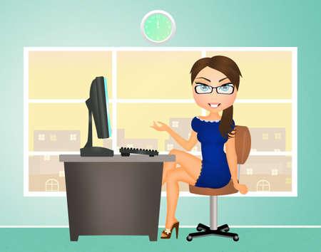 Sekretärin im Büro Standard-Bild - 48140240