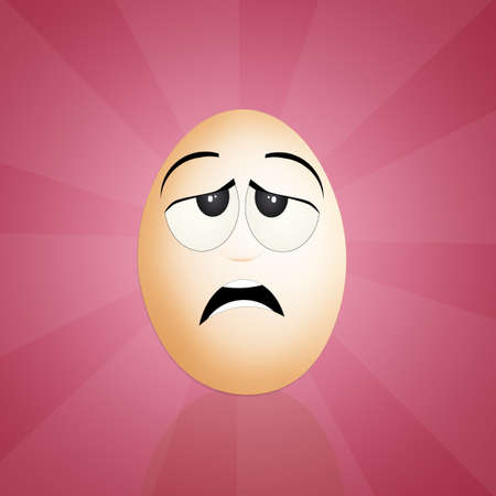 agitated: egg with funny face